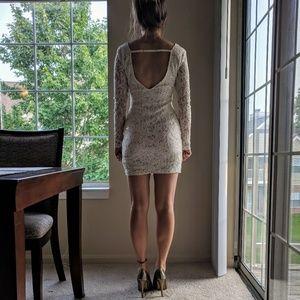White sequined open back dress